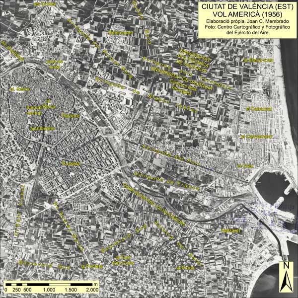Evolució de l'horta, en dues imatges, una del 1956 i l'altra del 2010. Joan Carles Membrado. Fotos: Institut Geogràfic Nacional i Institut Cartogràfic Valencià. (Descarregar de http://consigna.uv.es?recoge:es:7856_2446_3129_5984)