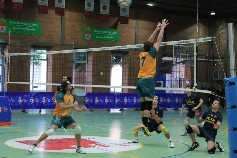 'equip de voleibol masculí de la Universitat de València, durant el Campionat d'Espanya Universitari.