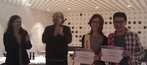 Emilia López i Vicent Costa, millors article ex aequo del dihuité Congrés Internacional d'Intel·ligència Artificial CCIA 2015.