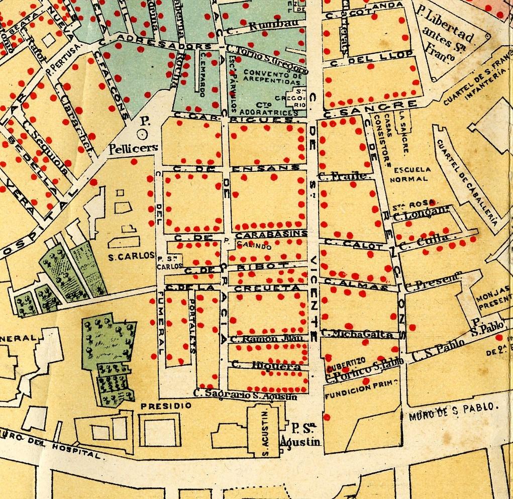 Mapa sobre la epidèmia de colèra a València de 1885.