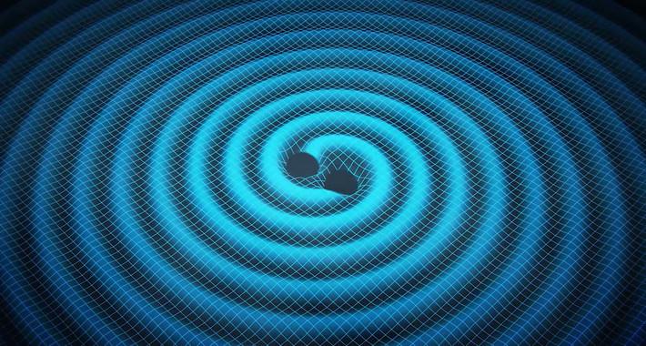 Imatge de la NASA que representa les ones gravitatòries.