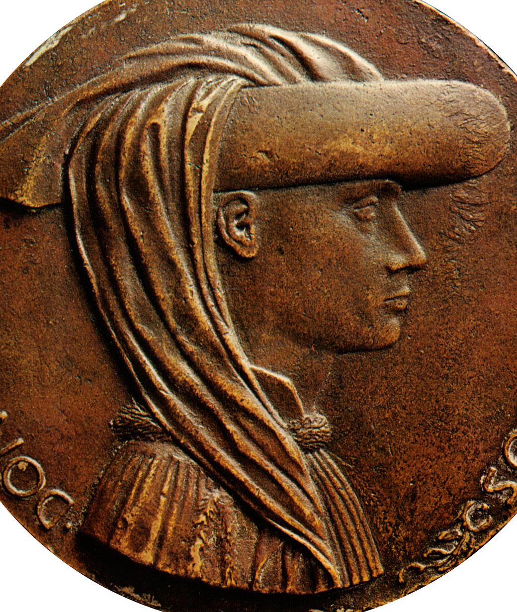"""Enyego d'Àvalos, gran camarlengo de Alfonso el Magnánimo y autor de """"Curial e Güelfa"""", retratado en una medalla del Pisanello (Nápoles, 1449)"""