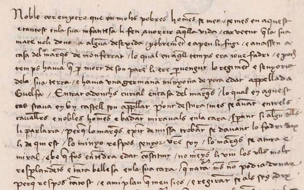 """Detall amb text de el """"Curial""""] Madrid, Biblioteca Nacional, ms. 9750"""